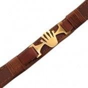 دستبند چرم طبیعی قهوه ای روشن طرح تاج