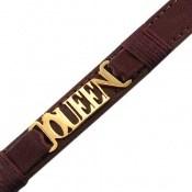 دستبند چرم طبیعی قهوه ای تیره طرح KING دوربند زنانه