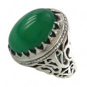 انگشتر نقره عقیق سبز دامله درشت طرح سلطان مردانه