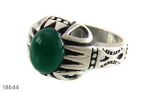 تصویر انگشتر عقیق سبز طرح آریا مردانه - شماره 1