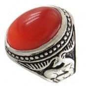 انگشتر نقره عقیق قرمز درشت طرح گوزن مردانه