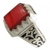 انگشتر نقره عقیق قرمز طرح مهیار مردانه