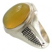 انگشتر عقیق زرد حرز دار طرح رادمهر مردانه