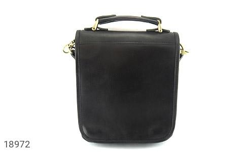 عکس کیف چرم طبیعی مشکی مدل دوشی جیب دار