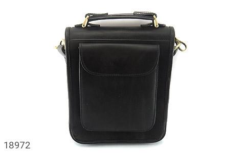 تصویر کیف چرم طبیعی مشکی مدل دوشی جیب دار - شماره 2