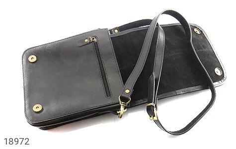 عکس کیف چرم طبیعی مشکی مدل دوشی جیب دار - شماره 3