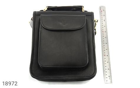 تصویر کیف چرم طبیعی مشکی مدل دوشی جیب دار - شماره 6
