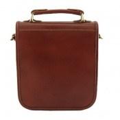 کیف چرم طبیعی قهوه ای روشن مدل دوشی جیب دار