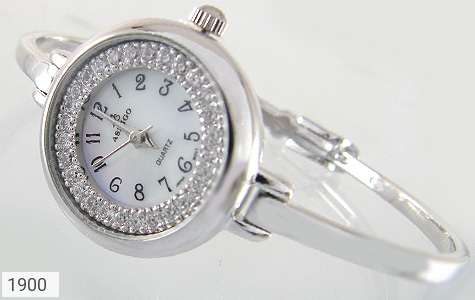 عکس ساعت نقره آب رودیوم سفید طرح دستبندی زنانه