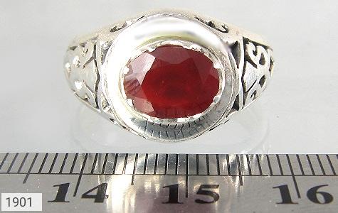 عکس انگشتر یاقوت سرخ مرغوب طرح صفوی مردانه