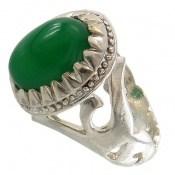 انگشتر عقیق سبز نگین دامله رکاب یاعلی مردانه