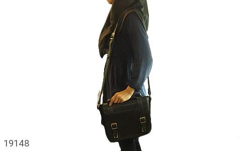 تصویر کیف چرم طبیعی مشکی طرح نیمه دیپلمات - شماره 10