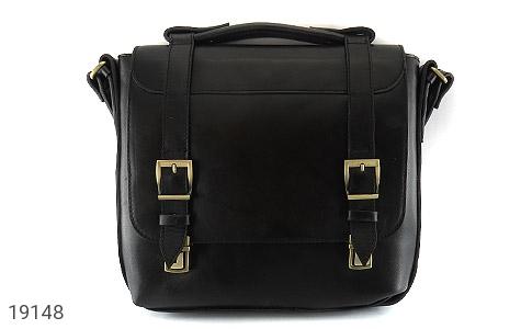 عکس کیف چرم طبیعی مشکی طرح نیمه دیپلمات - شماره 2
