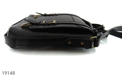 عکس کیف چرم طبیعی مشکی طرح نیمه دیپلمات - شماره 5