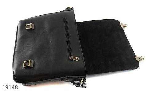 عکس کیف چرم طبیعی مشکی طرح نیمه دیپلمات - شماره 7