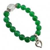 دستبند جید سبز آویز قلب زنانه