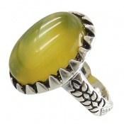 انگشتر نقره عقیق زرد شرف الشمس درشت طرح رهام مردانه