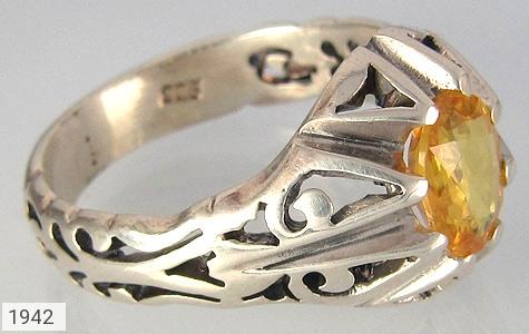 عکس انگشتر نقره یاقوت آفریقایی زرد مرغوب و خوش رنگ مردانه