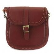 کیف چرم طبیعی مدل دوشی و اسپرت زرشکی زنانه