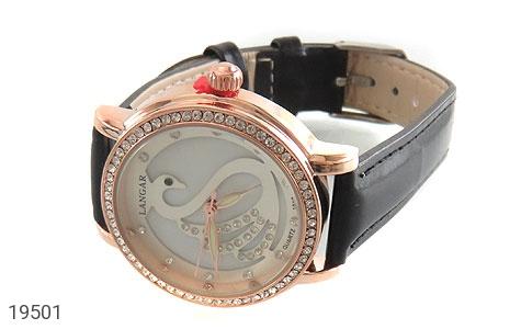 تصویر ساعت لنگر بند چرمی LANGAR بند مشکی مجلسی پرنگین زنانه - شماره 1