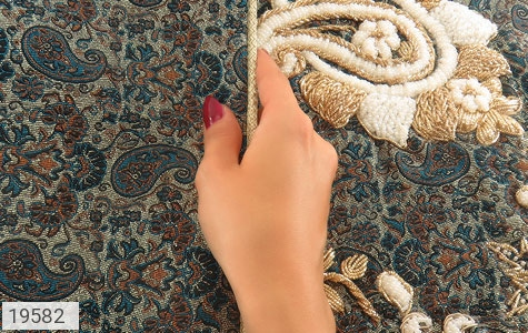 عکس ترمه رومیزی سایز بزرگ طرح شهناز - شماره 5