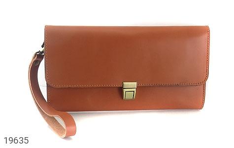 عکس کیف چرم طبیعی عسلی دستی مدل فاخر