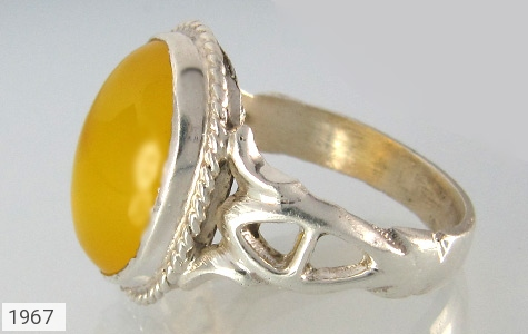 عکس انگشتر نقره عقیق زرد شرف الشمس درشت