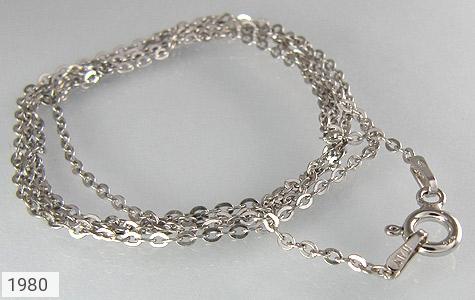 عکس زنجیر نقره ایتالیایی آب رودیوم 50 سانتیمتری طرح حلقه ای