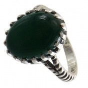 انگشتر نقره عقیق سبز طرح ماهان مردانه