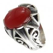 انگشتر نقره عقیق قرمز طرح بهرنگ مردانه
