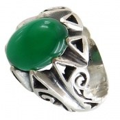 انگشتر نقره عقیق سبز طرح بهرنگ مردانه