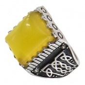 انگشتر عقیق زرد درشت طرح سنتی مردانه