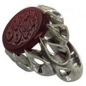 انگشتر نقره عقیق سرخ یمنی الحمدلله الحنان و المنان مردانه