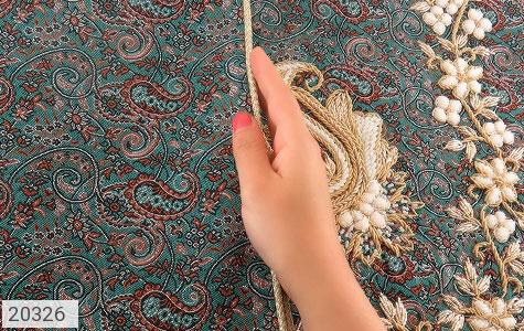 عکس ترمه رومیزی سایز بزرگ طرح سنتی و فاخر - شماره 5