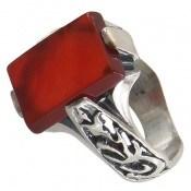 انگشتر عقیق قرمز رکاب یاحسین یاعباس مردانه
