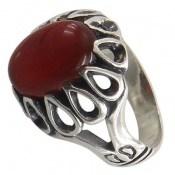 انگشتر نقره عقیق قرمز طرح شایان مردانه