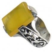 انگشتر عقیق زرد شرف الشمس رکاب یاحسین یاعباس مردانه