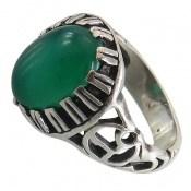 انگشتر عقیق سبز دورچنگ مردانه