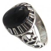 انگشتر نقره عقیق سیاه دورچنگ مردانه