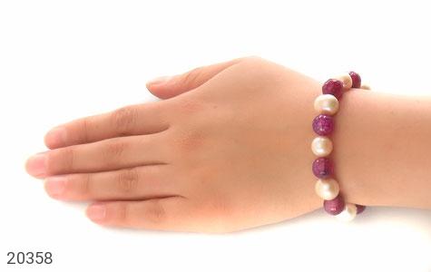 عکس دستبند عقیق و مروارید درشت طرح ملکه زنانه - شماره 6