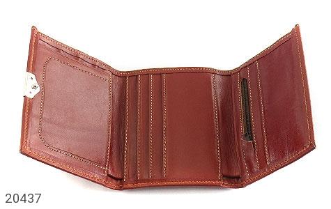 عکس کیف چرم طبیعی قهوه ای مایل به قرمز مدل جیبی دکمه دار - شماره 3