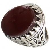انگشتر نقره عقیق قرمز درشت طرح سلطان مردانه