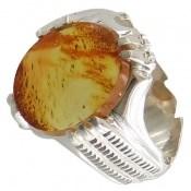 انگشتر نقره کهربا بولونی لهستان خوش رنگ مردانه