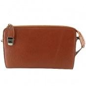 کیف چرم طبیعی عسلی مدل دستی یا دوشی زنانه