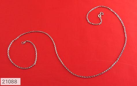 عکس زنجیر نقره طرح حلقه ای 45 سانتی
