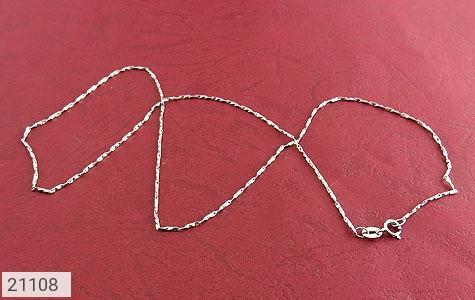 عکس زنجیر نقره طرح خط حلقه 46 سانتی زنانه