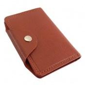 کیف چرم طبیعی جاکارتی قهوه ای روشن