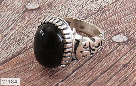 عکس انگشتر نقره عقیق سیاه رکاب یاعلی مردانه