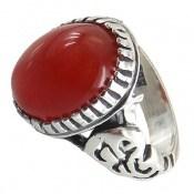 انگشتر نقره عقیق قرمز رکاب یاعلی مردانه