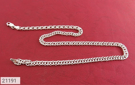 عکس زنجیر نقره حلقه ای درشت 46 سانتی